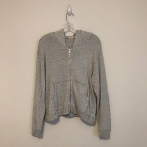 Brandy Melville Soft Grey Zip Up Hoodie Sweatshirt